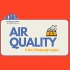 """Banner reads """"Air quality in the Pittsburgh region, a public service guide by PublicSource.org, in red and blue"""
